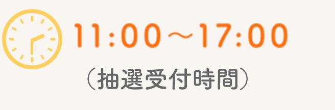 11:00〜17:00 (抽選受付時間)